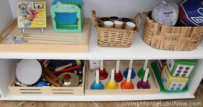 Middle and Bottom Shelves in the Educational Toys, Sensorial, Math, Music, and Movement Area