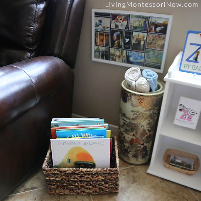 Reading Corner with Montessori Book Basket, Rug Container, and Art Masterpieces