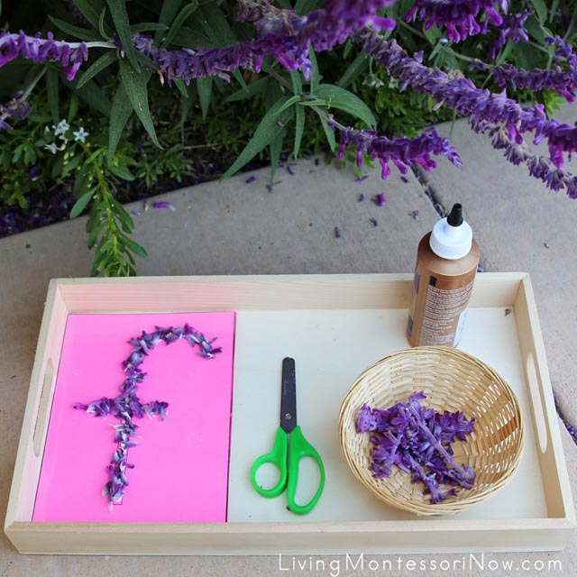 Tactile Nature Letters Tray (Flower Letter F)