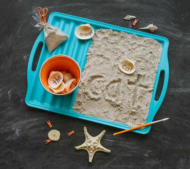 Words in the Sand from 100 FUN & EASY LEARNING GAMES FOR KIDS