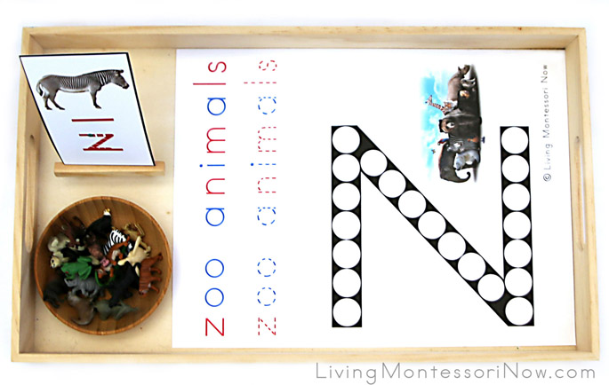 Zoo Animal Do-a-Dot Letter Z Tray with Miniature Zoo Animals