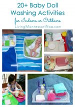 20+ Baby Doll Washing Activities for Indoors or Outdoors {Montessori Monday}