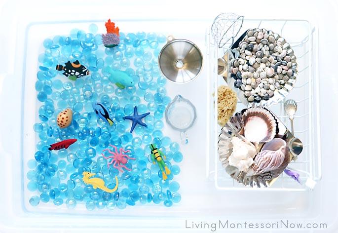 DIY Coral Reef Sensory Bin with Practical Life Activities