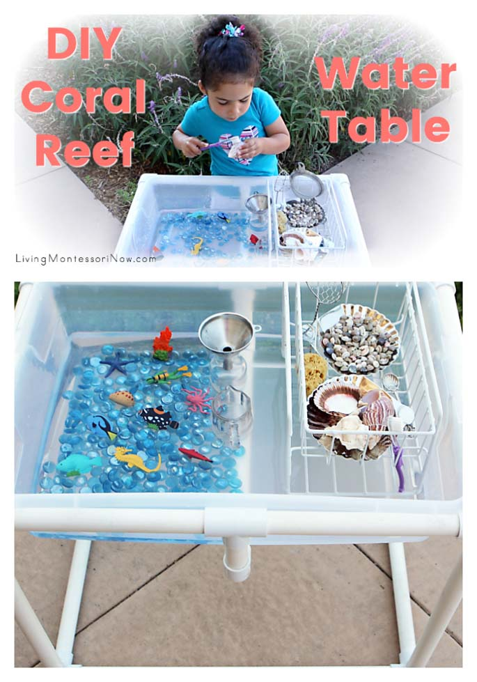 DIY Coral Reef Water Table with Practical Life Activities {Montessori Monday}