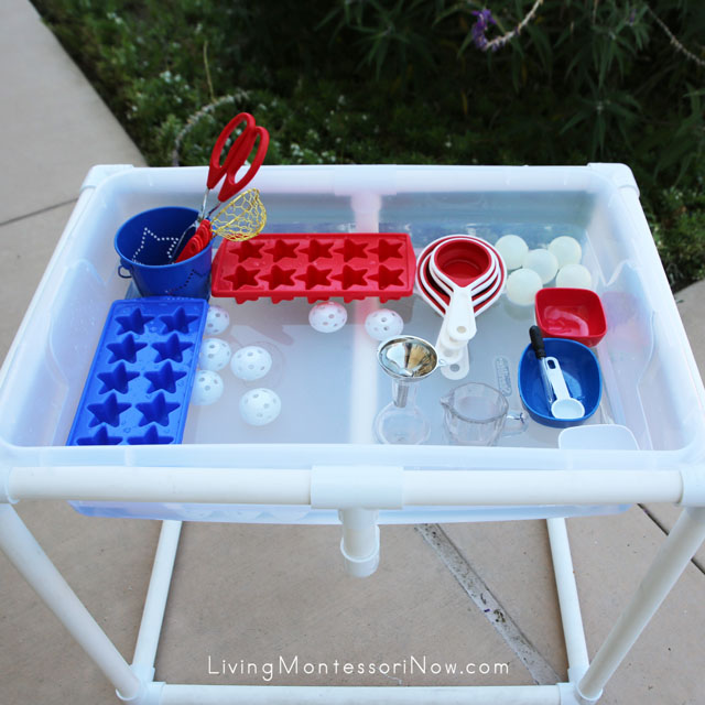 DIY Water Table with Red, White, and Blue Activities