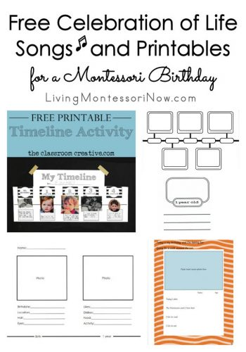 Free Celebration of Life Songs and Printables for a Montessori Birthday