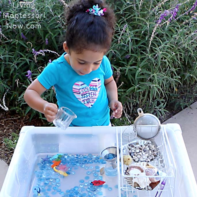 Having Fun with Pouring in a DIY Coral Reef Water Table