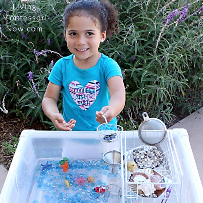 Ocean Vocabulary (and Dory) in a DIY Coral Reef Sensory Table