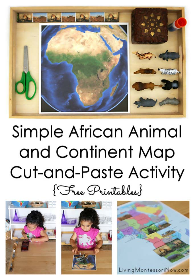 Simple African Animal and Continent Map Cut-and-Paste Activity {Free Printables} – Montessori Monday