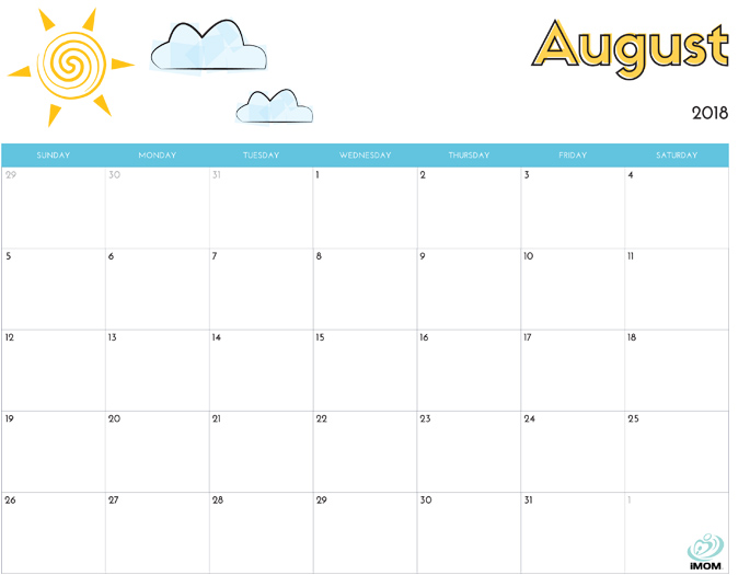 August 2018 Calendar from iMom