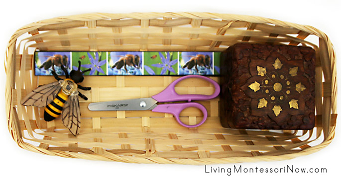 Basket with Honeybee Cutting Strips and Honeybee Figure