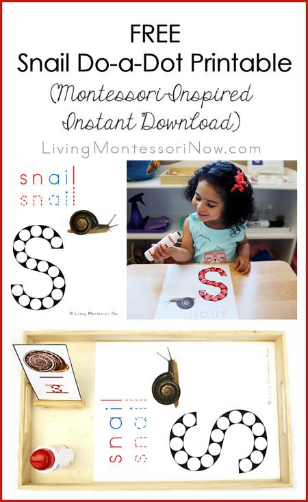 FREE Snail Do-a-Dot Printable (Montessori-Inspired Instant Download) – Montessori Monday