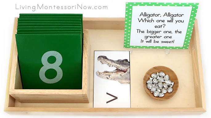 Greater Than, Less Than Alligator Tray with Math Manipulatives and Chant