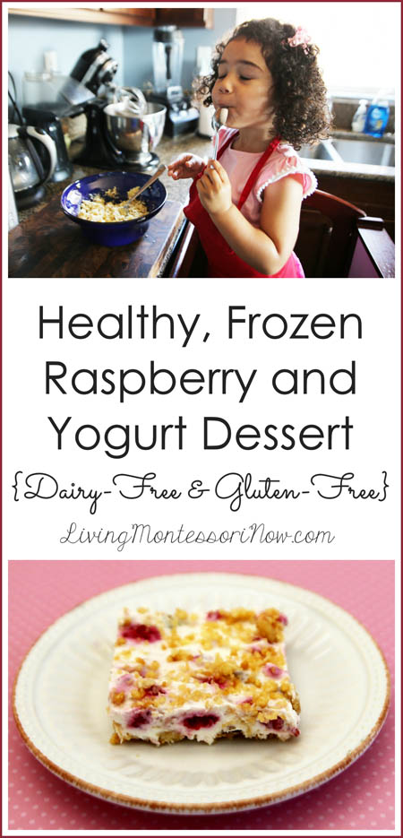 Healthy, Frozen Raspberry and Yogurt Dessert {Dairy-Free and Gluten-Free}