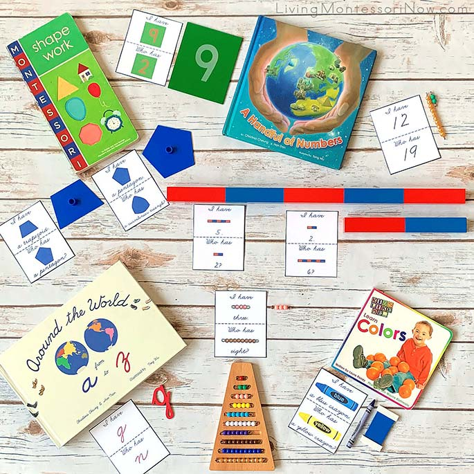 Examples from the Montessori-Inspired I Have, Who Has Preschool Game Pack in Cursive