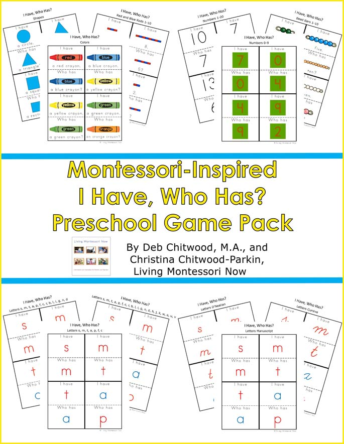 Montessori-Inspired I Have, Who Has? Preschool Game Pack