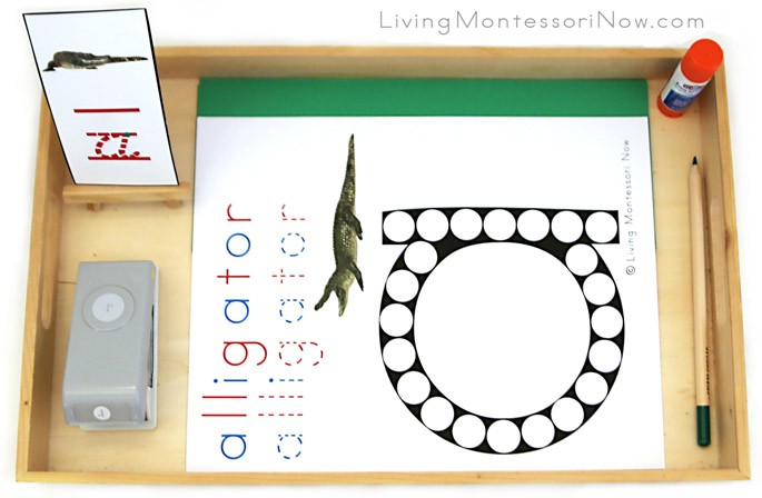 Alligator Do-a-Dot Letter A Tray with Hole Punching and Gluing