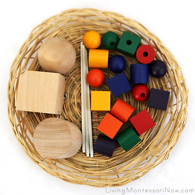Basket with Spielgaben Geometric Shapes and Wooden Beads