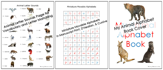 Extra Activity Pages in Animal Alphabet Packs