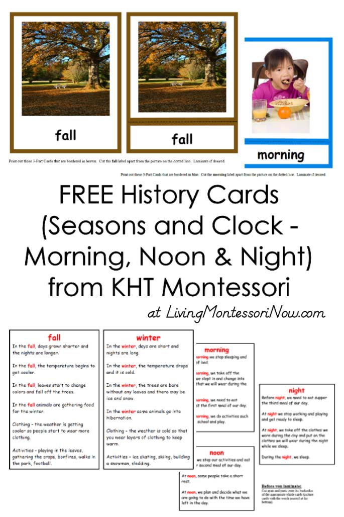 FREE History Cards (Seasons and Clock) from KHT Montessori