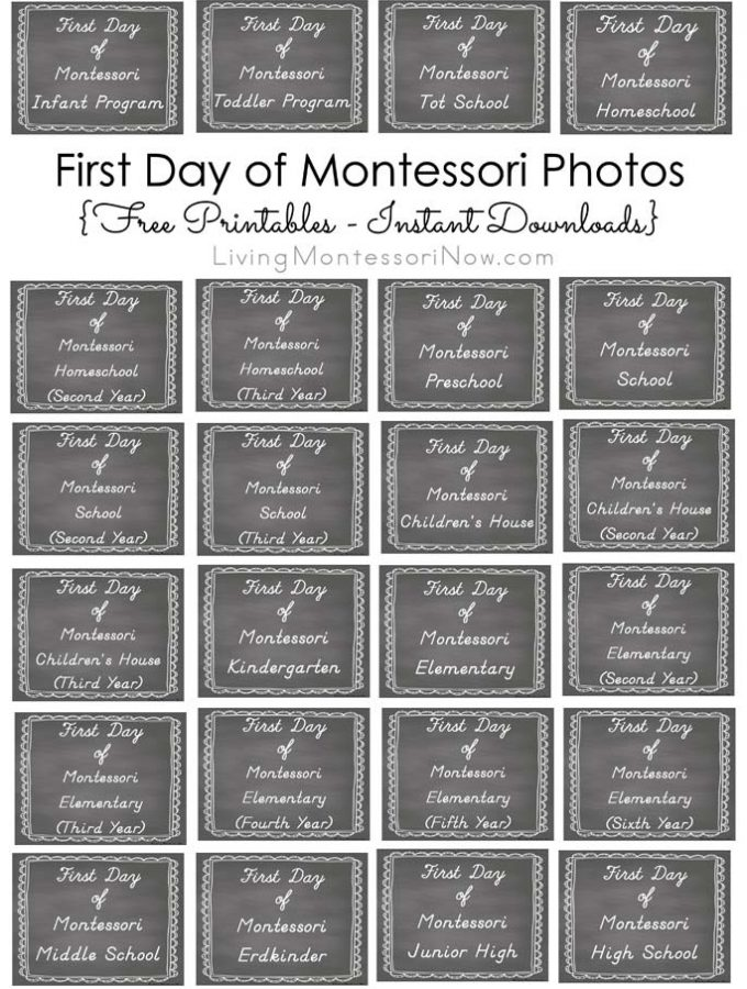 First Day of Montessori Photos {Free Printables - Instant Downloads}