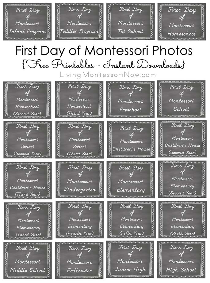 First Day of Montessori Photos {Free Printables – Instant Downloads}
