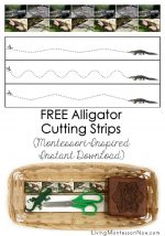FREE Alligator Cutting Strips (Montessori-Inspired Instant Download)
