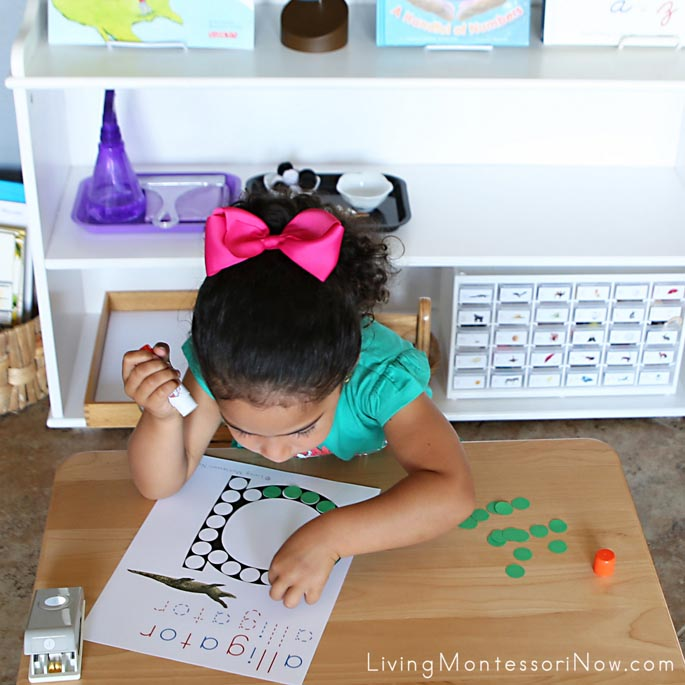 Gluing Dots on Alligator Do-a-Dot Page