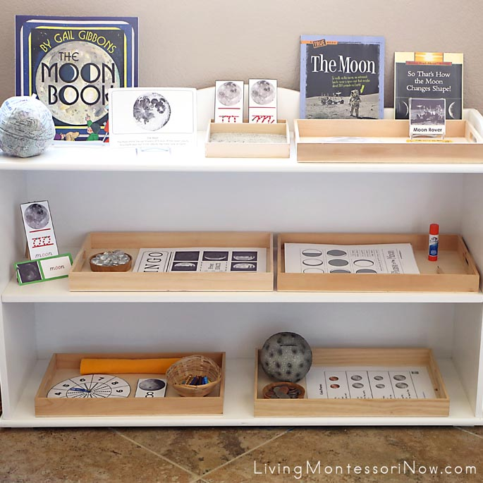 Montessori Shelves with a Moon Theme