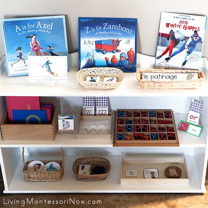 Montessori Shelves with a Winter Sports Theme