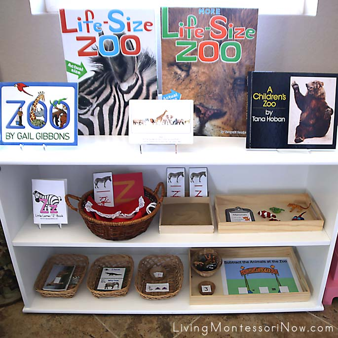 Montessori Shelves with a Zoo Theme