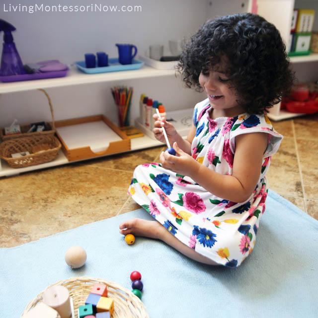 Skewering Spielgaben Wooden Beads