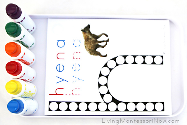 Tray with Animal Alphabet Do-a-Dot Pages