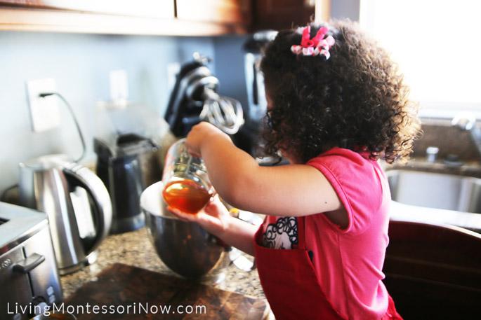 Adding Honey to the Pumpkin Muffin Batter