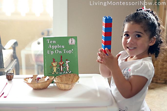 Building a Ten Apples Up On Top Tower with DUPLO Bricks (Extension for Montessori Number Rods)