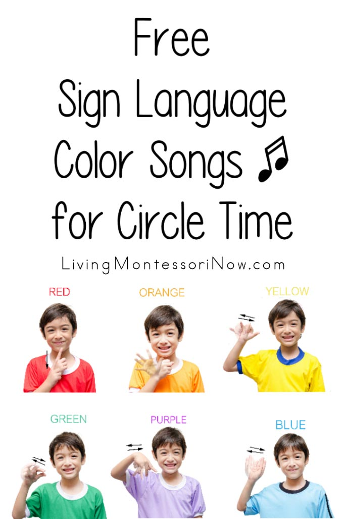 Adorable image with sign language colors printable