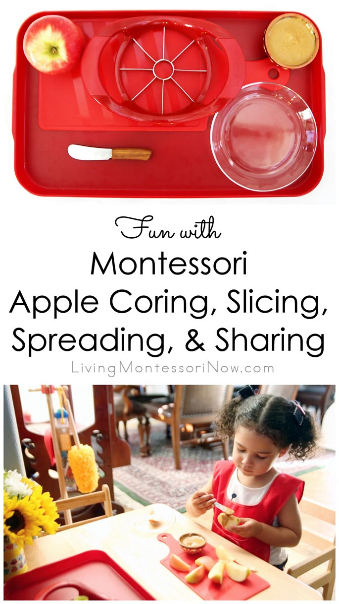 Fun with Montessori Apple Coring, Slicing, Spreading, and Sharing