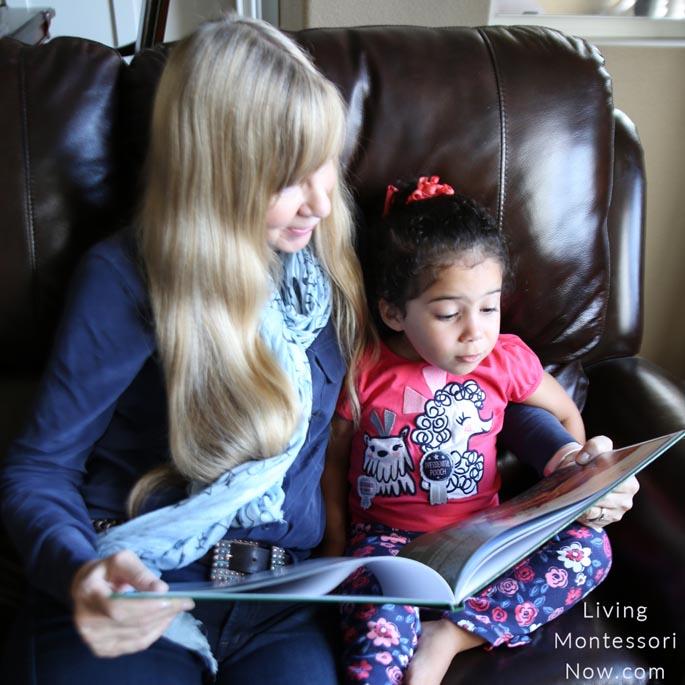 Grandma Reading an Alphabet Book the Montessori Way
