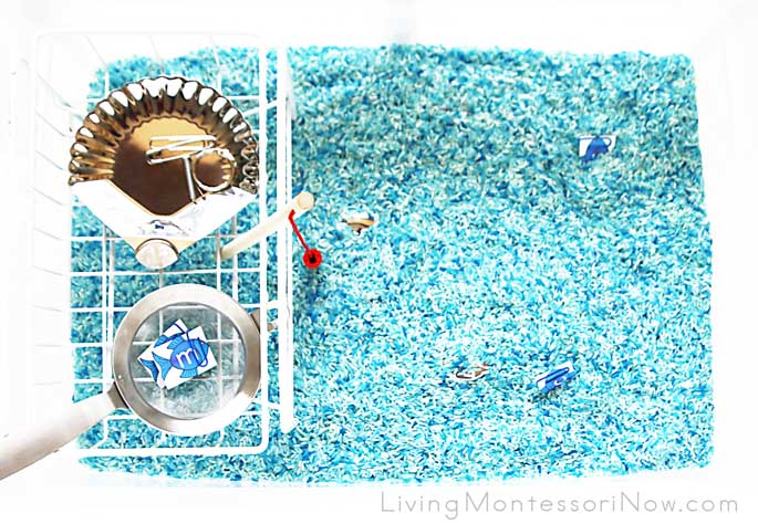 Magnet Sensory Bin with Magnet Fishing Rod, Magnetic Objects, and Magnetic Letter Fish