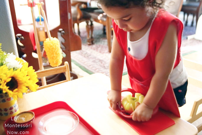Montessori Coring and Slicing an Apple