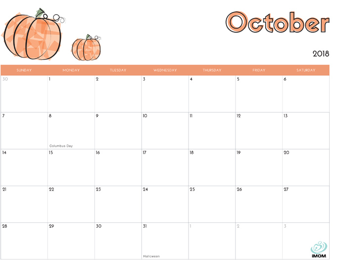 October 2018 Calendar from iMom