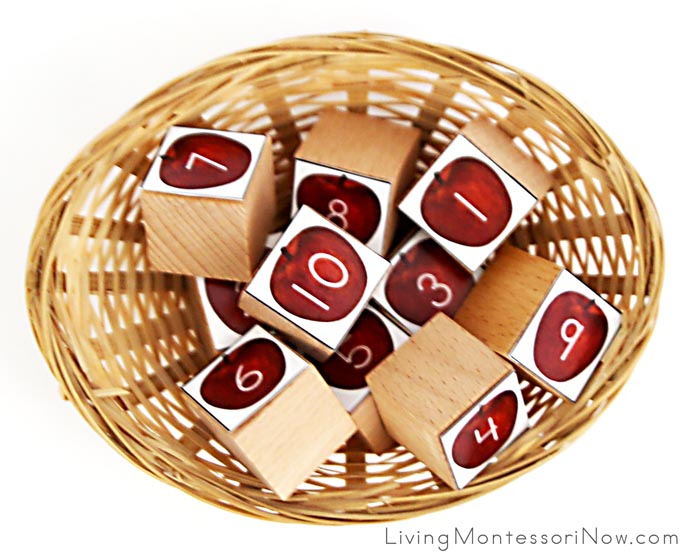 Spielgaben Wooden Cubes with Free Printable Apples with Numbers