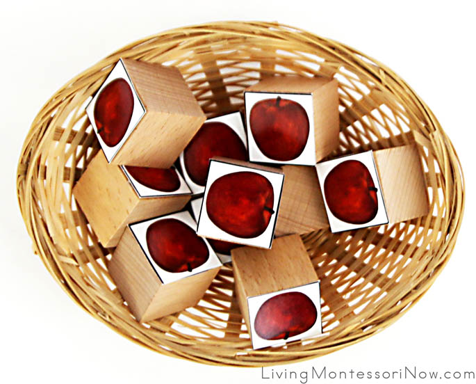 Spielgaben Wooden Cubes with Free Printable Apples