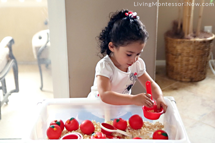 Ten Apples Up On Top Sensory Bin and Table