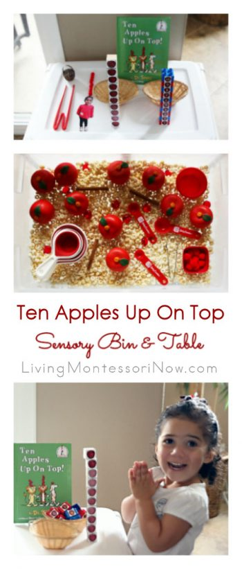 Ten Apples Up On Top Sensory Bin & Table with Free Printables