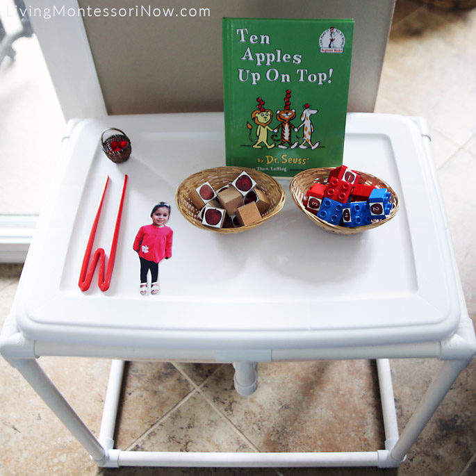 Ten Apples Up On Top Sensory Table with Apple Materials Using Free Printables