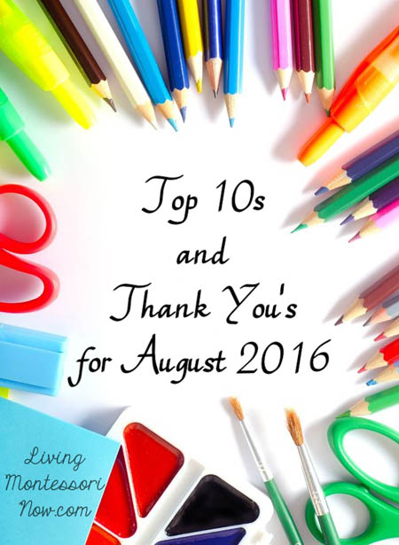 Top 10s and Thank You's for August 2016