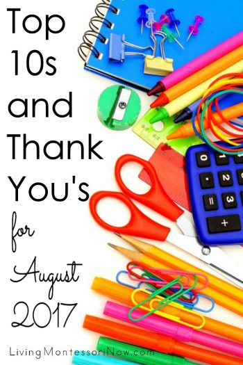 Top 10s and Thank You's for August 2017
