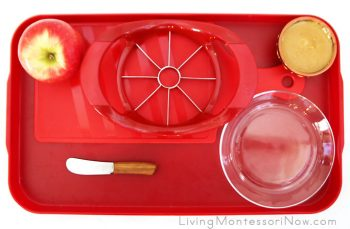 Tray with Materials for Apple Coring and Slicing Plus Preparing an Apple Snack