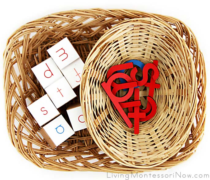 Basket for Matching Letter Cubes with Movable Alphabet Letters